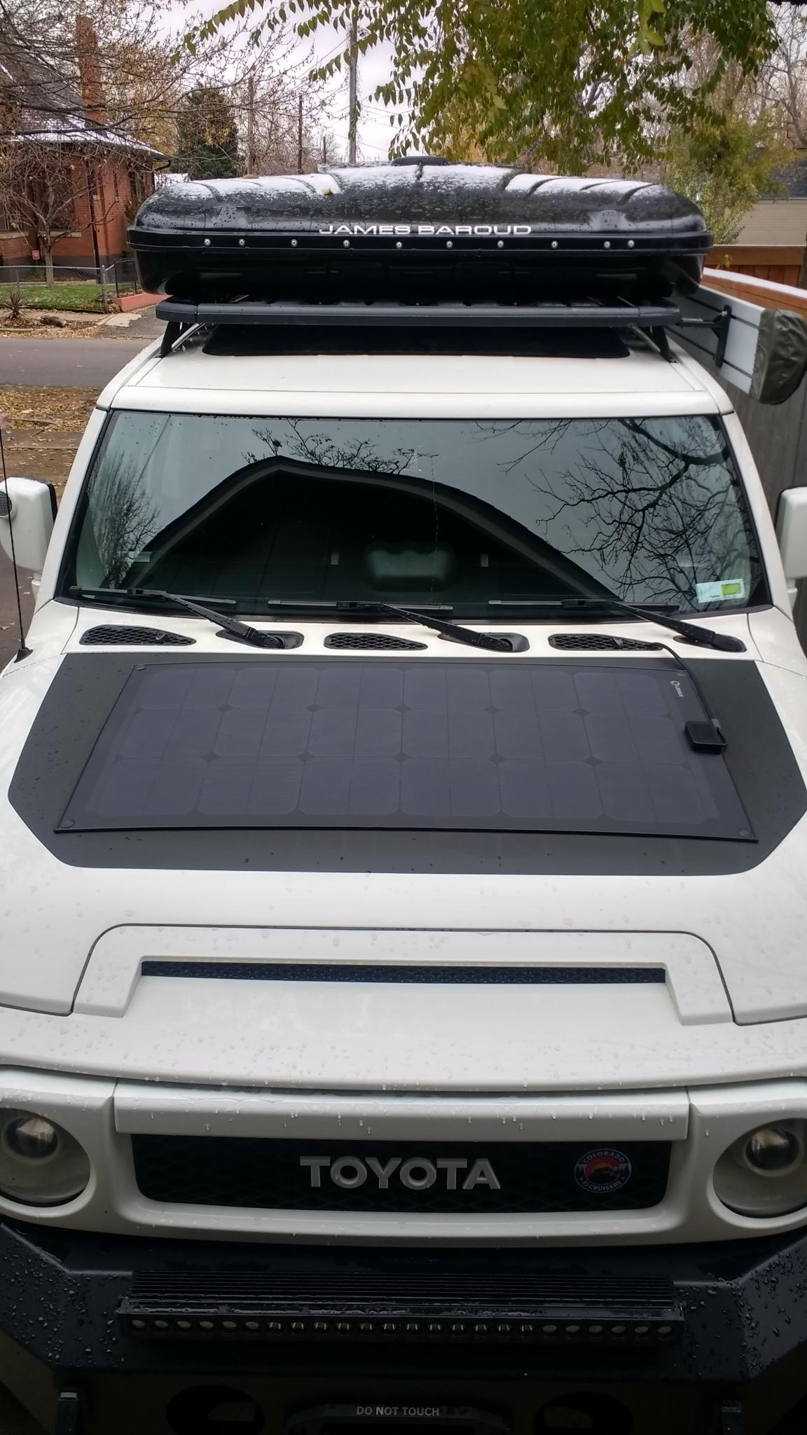 80w Lensun Flexible Solar Panel Mounted To Hood Toyota