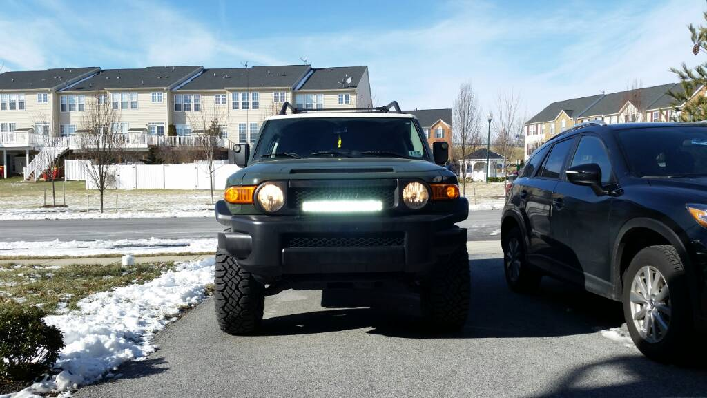 Led Light Bar On Factory Bumper Toyota Fj Cruiser Forum