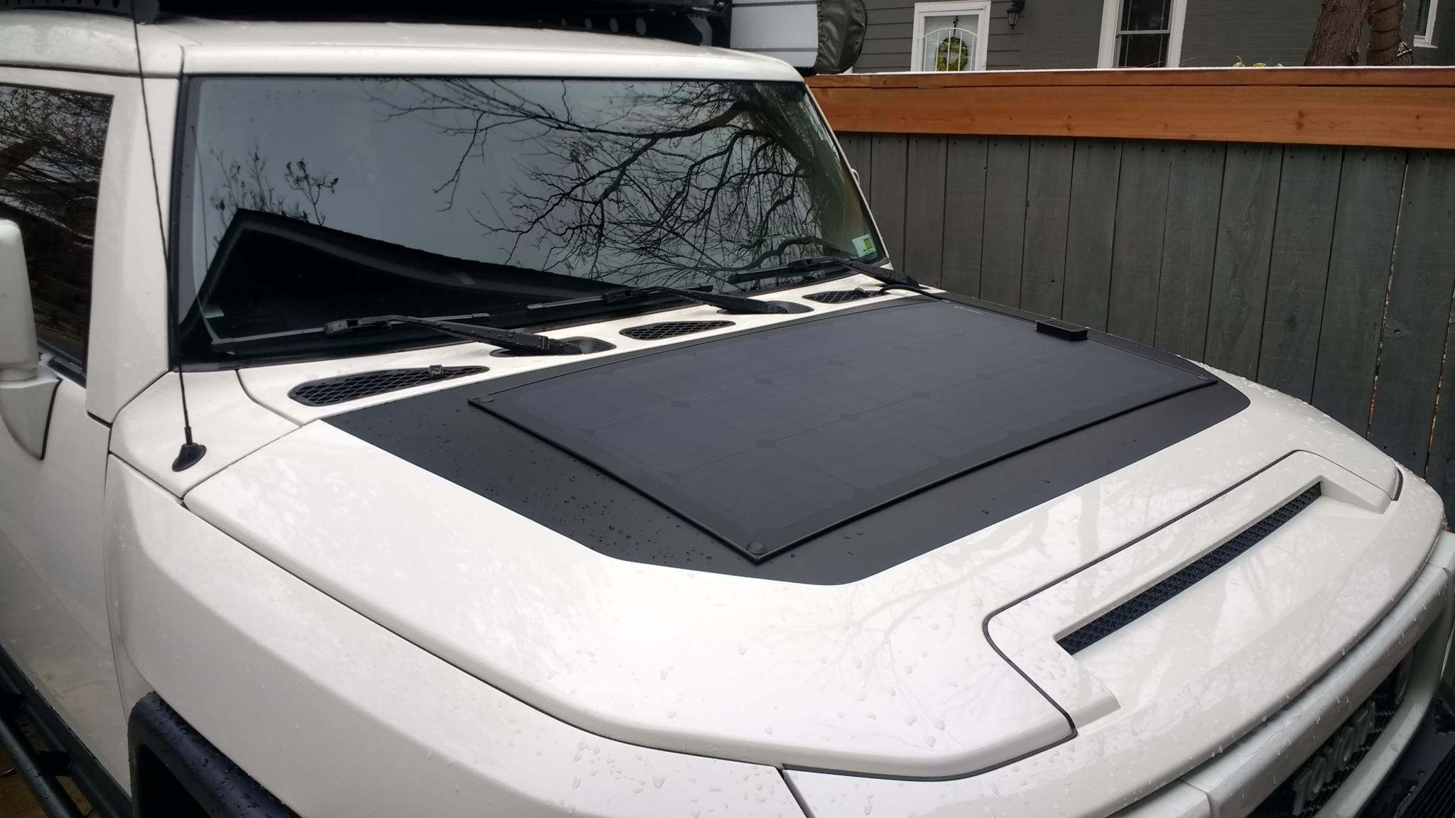 80w Lensun Flexible Solar Panel Mounted To Hood Toyota