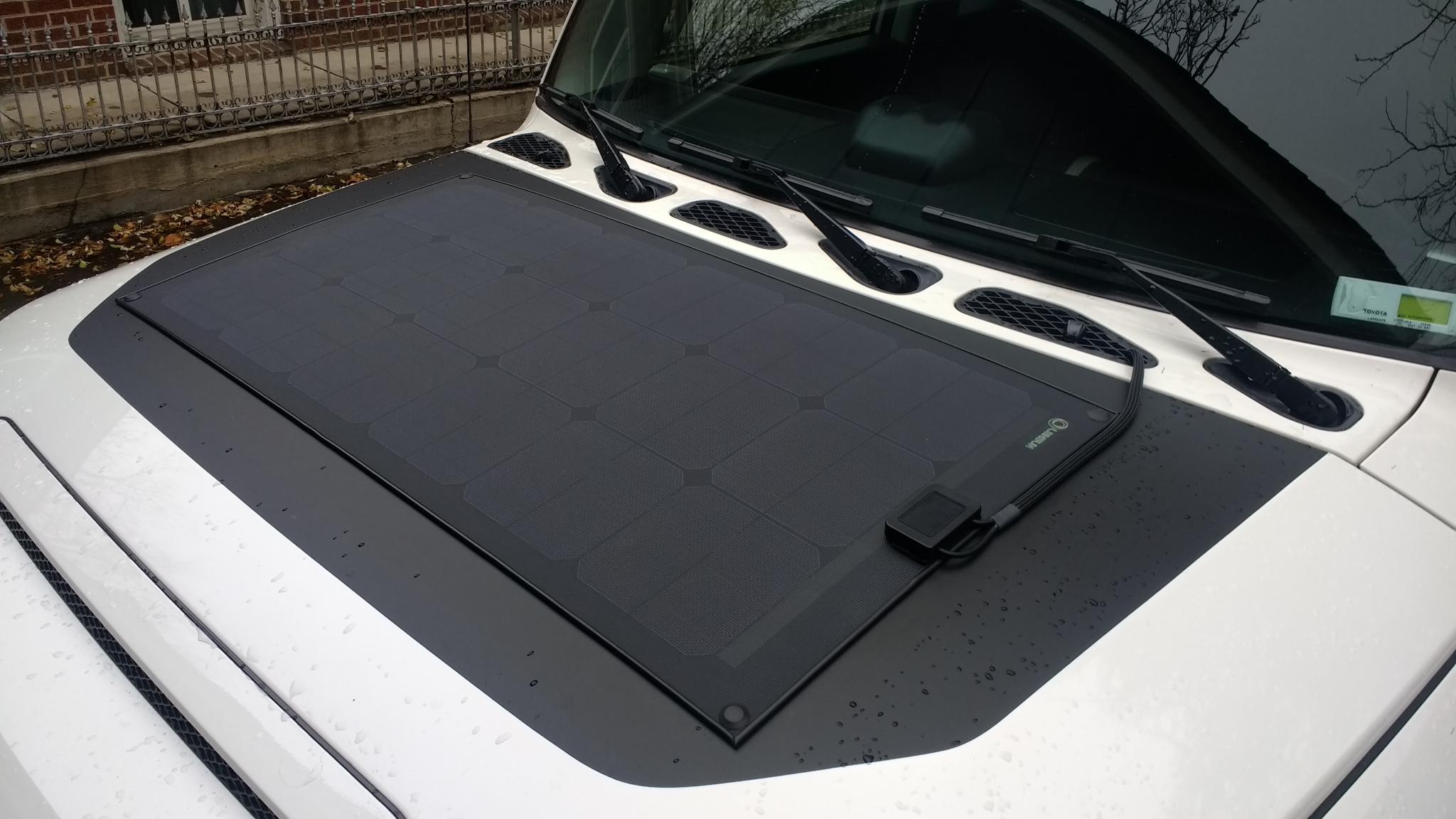 80w Lensun Flexible Solar Panel Mounted To Hood Toyota Fj Cruiser Car Click Image For Larger Version Name 4 Views 1177 Size 2099