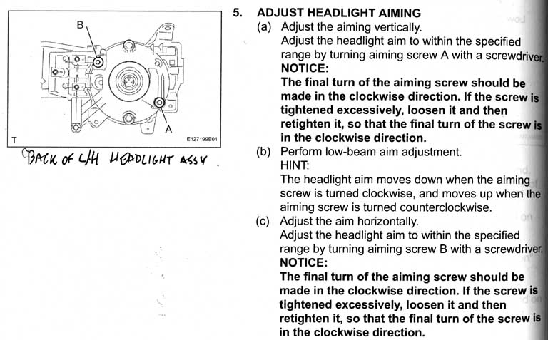 Adjusting the fjs headlights pirate4x4 4x4 and off road forum the leftright b adjustment screws are on the outside top back of the lamp assemblies and the updown a ones are on the inside bottom back sciox Choice Image