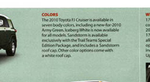 Iceburg White for ALL 2010 FJ Cruisers?