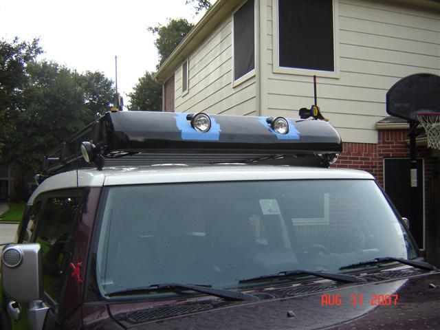 Arb Roof Rack Wind Deflector Installed Toyota Fj Cruiser
