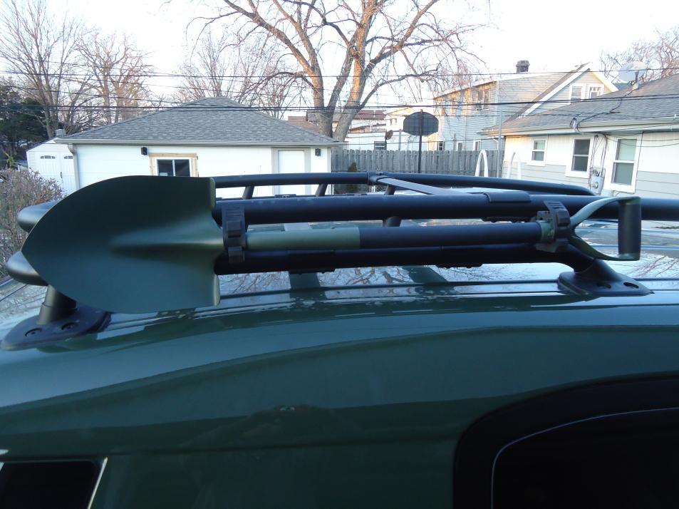 Cheap Axe And Shovel Mount On Oem Roof Rack Toyota Fj