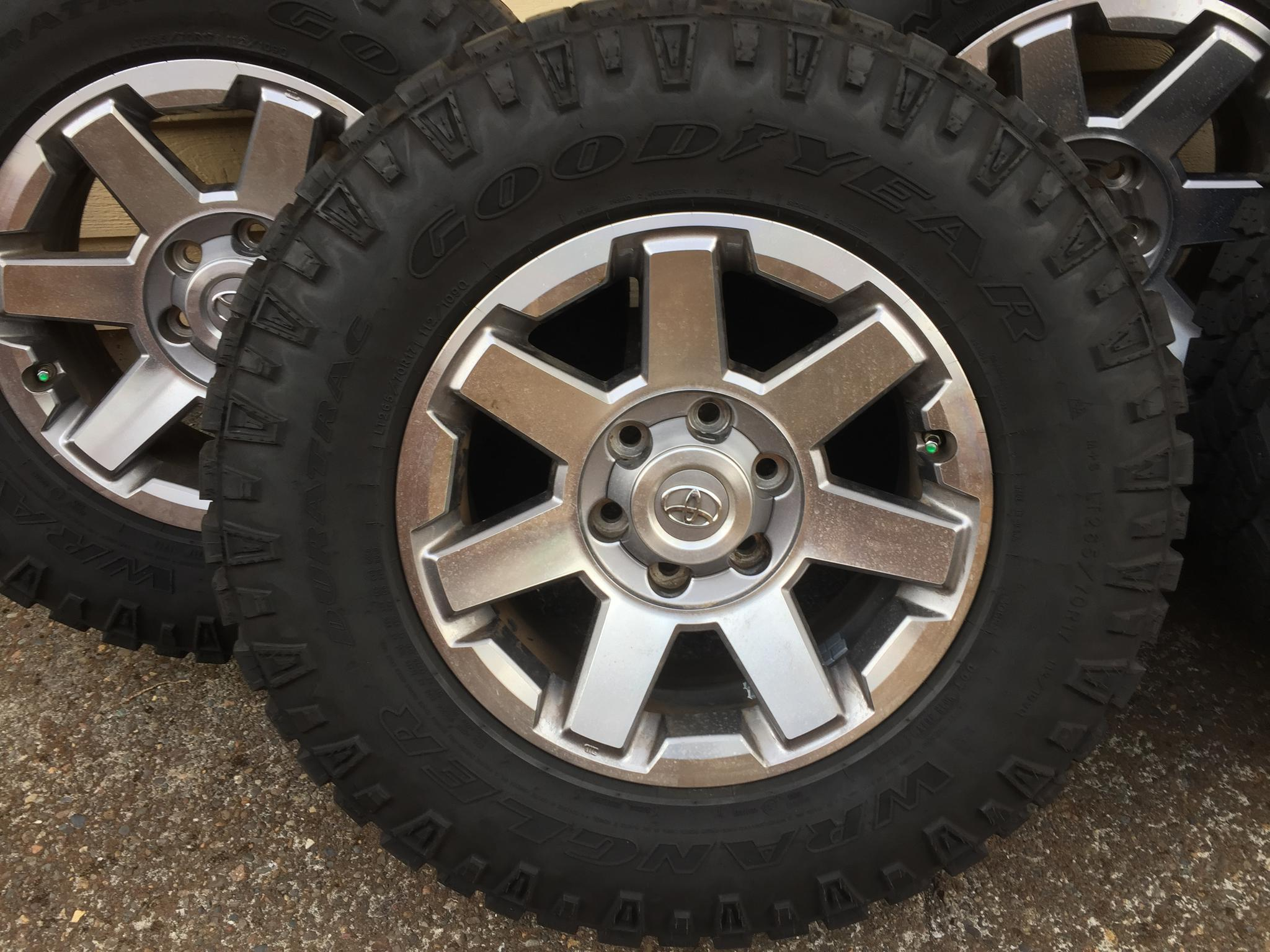 5 Goodyear Duratrac Tires Mounted On Stock 2014 Fj Cruiser