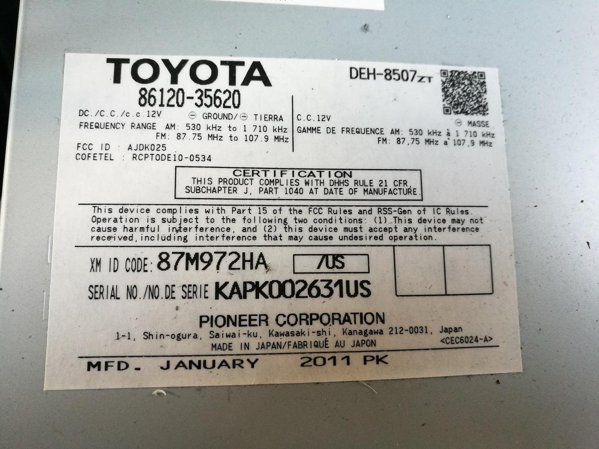 Pioneer Toyota Wiring Diagram
