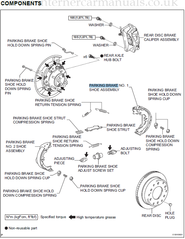 Toyota FJ Cruiser 07 08 Emergency//Parking Brake Shoes