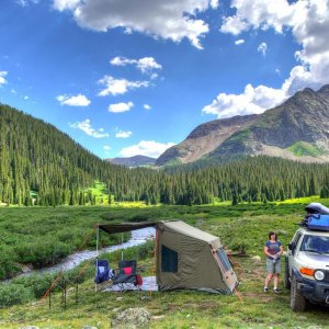 Campsite, South Mineral Creek trail, San Juan Mtns, Colorado, July 2014