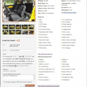 2007 Toyota FJ Cruiser info page on Cars.com