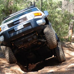 The FJ is more than Capable in the ruts.