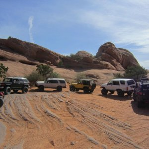 Part of our group going up Poison Spider, had 3 FJs this day!